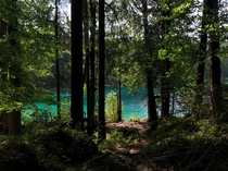 Arriving at the Eibsee in Bavaria Germany after a long hike