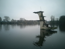 Art deco diving board in Coate Water Country Park England