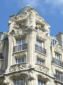Art Nouveau facade on a building in Paris France
