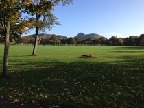 Arthurs Seat from the Meadows Edinburgh Scotland