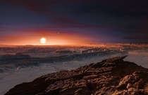 Artists conception of the surface of Proxima Centauri b an exoplanet orbiting in the habitable zone of the red dwarf star Proxima Centauri which is the closest star to the Sun It is located about  light-years from Earth