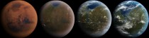 Artists conception of the terraforming of Mars in four stages of development