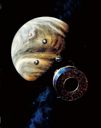 Artists impression of Pioneer Venus approaching its target