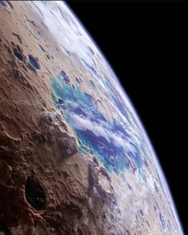 Artists impression of the ancient lakes rivers and seas of Mars