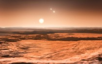 Artists impression of the view from exoplanet Gliese Cd The Gliese C system is a triple-star system Three planets in this system are candidates for the presence of life