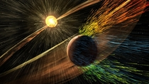 Artists rendering of a solar storm hitting Mars and stripping ions from the planets upper atmosphere Credits NASAGSFC