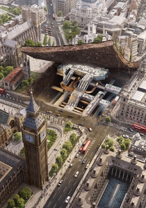 Artists rendering of London Underground beneath Big Ben