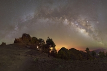 As part of an astrophotography documentary about La Palma I shot this Panorama of the Milky Way  frames after hiking all day up to  ft   m Very exhausting but satisfying