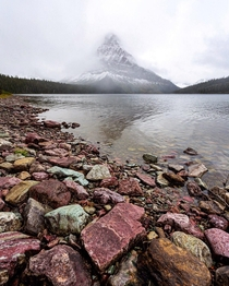 As snow laden clouds do their thing the colorful rocks become more apparent Montana USA ignatureprofessor