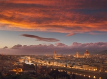 As the sun sets over Florence Italy