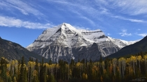 As the tallest mountain in the Canadian Rockies Mt Robson is an imposing first sight heading to the trailhead Mt Robson Provincial Park BC