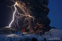 Ash and Lightning above an Icelandic Volcano by Sigurur Stefnisson
