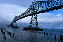 Astoria-Megler Bridge Longest truss bridge in North America spanning  ft  metres Height  ft  m at high tide Opened July   connecting Oregon and Washington State across the Columbia River Photo by the author March