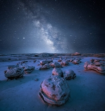 Astro of Alien Eggs at Bisti Badlands New Mexico