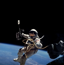 Astronaut Edward White during first EVA performed during Gemini  flight