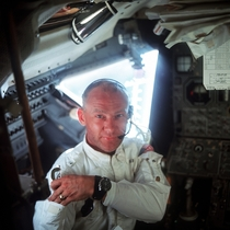 Astronaut Edwin Aldrin Jr in the Apollo Lunar Module