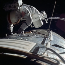Astronaut Ron Evans performs the third and final transearth EVA to date on Apollo