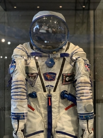Astronaut Tim Peaks  uk  space suit that was worn during his journey to space and worn on his return to Earth