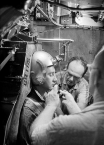 Astronaut Virgil Gus Grissom in a centrifuge training machine Johnsville Pennsylvania