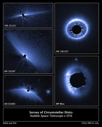 Astronomers completed the largest and most sensitive visible-light imaging survey of dusty debris disks around other stars These disks likely created by collisions between leftover objects from planet formation were imaged around stars as mature than  bil