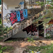 At an abandoned water park outside Hue Vietnam