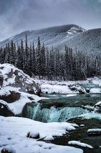At  degrees fahrenheit and being a Californian it was cold but it was worth it Elbow Falls Alberta