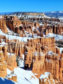 At  feet above sea-level Bryce canyon is in fact not a canyon It is formed by ice wedging where ice is slowly wedging the rocks apart to sculpt gorgeous hoodoos Winter at Bryce Canyon National Park Utah