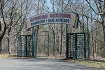 At one point the Catskill Game Farm was the largest private zoo in the US It originated in  and was open until  It has been closed since Here is the gateway to the Rhino house Photo taken by Brian Cornish