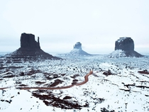 At the end of a four-week road trip I ran into some bad luck a flat tire I stayed the night in Monument Valley in Utah and my fortunes turned around when I was able to capture the sandstone buttes after a light coating of snow  Photo by Tyler Lekki