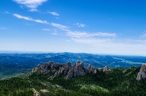 At the top of Black Elk Peak in the Black Hills
