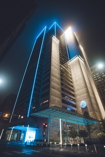ATampT Headquarters on a foggy night