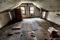 Attic bedroom of an abandoned house near Lake Simcoe in Ontario