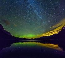 Aurora and Milky Way at Wedge Pond Kananaskis Canada