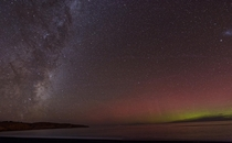 Aurora and Milky Way near Christchurch New Zealand last night
