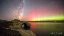 Aurora and Milky Way Over Tunnel Beach Dunedin NZ