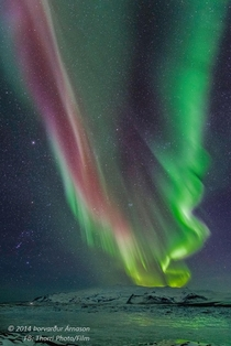 Aurora and The Constellation of Orion visible to the auroras left over Iceland