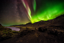 Aurora and the Faint Milky Way over Kleifarvatn Iceland