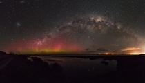 Aurora Australis and Milky Way taken last week at Lake Ellesmere Canterbury New Zealand