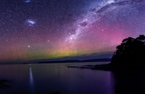 Aurora Australis Visible under The Milky Way My first attempt at astro Taken in Tasmania about  hours South of Hobart  exposures  F ISO on a Nikon D