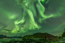 Aurora Borealis over Kingdom of Norway photographed by Markus Varik on  September