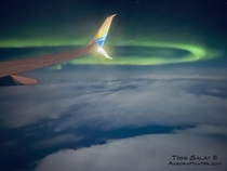 Aurora Borealis seen from United States of America Northern lights dance far above the moonlit clouds around  am on February   as seen from a Seattle-to-Anchorage redeye flight writes photographer Todd Salat