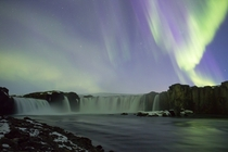 Aurora Over Godafoss Waterfall Iceland