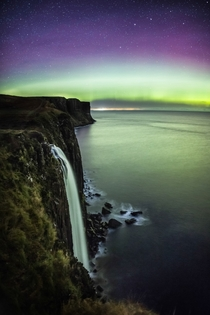 Aurora over Kilt Rock amp Mealt Falls on the Isle of Skye Scotland  caitensphoto