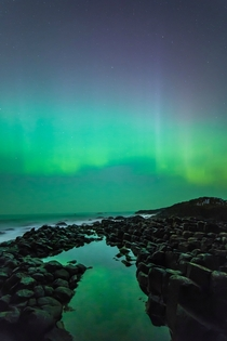 Aurora over the Giants Causeway Northern Ireland on St Patricks Day