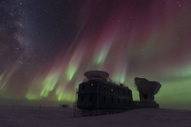 Aurora over the South Pole Telescope