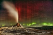 Aurora over White Dome Geyser in Yellowstone National Park