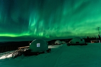 Aurora viewing from the igloos at Borealis Basecamp in Alaska on a strong night