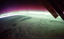 Auroras photographed from the ISS on expedition  For this picture I combined  consecutive images to reduce noise and improve color and low-light detail
