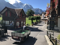 Automobile free and high up in the Alps in Wengen Switzerland