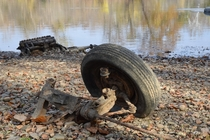 Automotive flood debris bank of the Potomac River Virginia